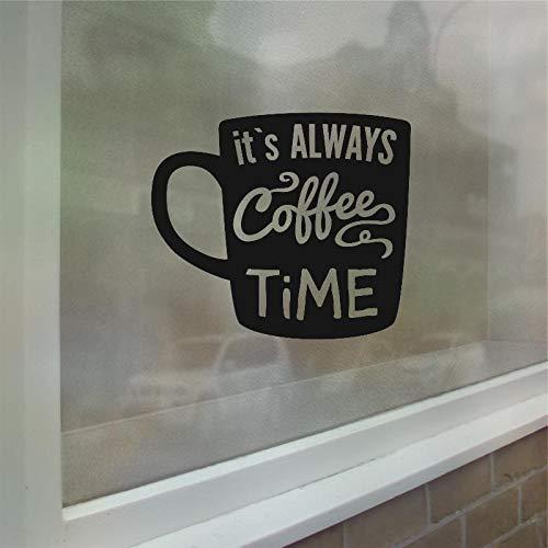 Koffie thee tijd muurtattoo winkel logo venster glaskunst muurschildering koffiekopje vinyl muursticker verwijderbare keuken kamer decoratie <> 42x48cm