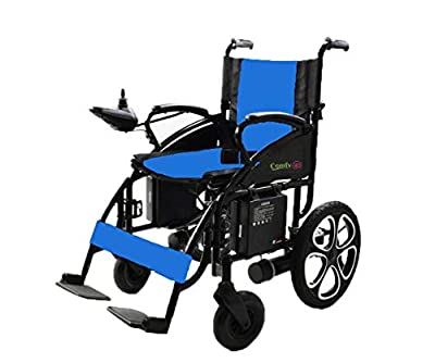 ComfyGO Electric Wheelchair Folding Motorized Power Wheelchairs, Fold Foldable Power Compact Mobility Aid Wheel Chair, Powerful Dual Motor Wheelchair (Blue)