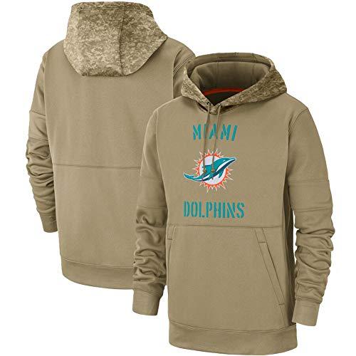 GOLOFEA Dolphins Langarm American Football Trikot, Rugby Jersey Pullover High Neck Hoodie Leichter Print Logo Top Mit Taschen Für Männer Khaki-XL