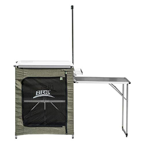 Fesjoy camping table, Portable Kitchen 2-Tier Camping Kitchen Cook Table Aluminum Alloy Camping Table with Carrying Bag Compatible with Camping BBQ Backyard Party
