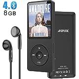 AGPTEK Lecteur MP3 Bluetooth 4.0 8Go Lecteur Musique Sport Portable avec Podomètre, Radio FM, Enregistrement Vocal, 1.8 TFT Écran, Supporte Carte SD Jusqu'à 128Go-A02T Noir