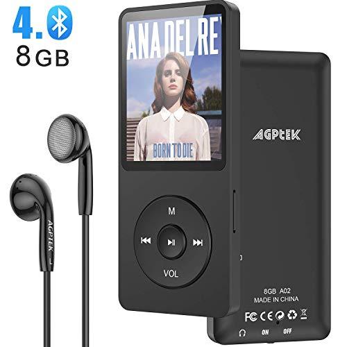 MP3-speler, AGPTEK 8 GB Bluetooth 4.0 MP3-speler met hoofdtelefoon voor kinderen, 1,8 inch 70 uur afspeeltijd Digitale kinderen MP3-speler FM-radio, tot 128 G SD-kaart, zwart