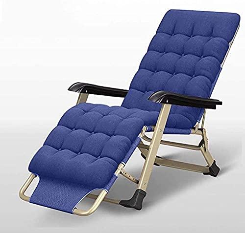 Balcón de jardín y Silla de terraza, sillón de Sol Plegable con Respaldo Ajustable: Silla Plegable y Puede Cargar 150 kg-Almohadilla de algodón Azul + Perla
