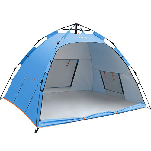 Beach Tent, ZOTO 2021 Blue Automatic Pop Up Sun Shelter Tent, Anti UV 50+ Compact Portable 3-4 Persons Family Tent for Beach, Garden, Camping, Fishing, Picnic Hiking Travel