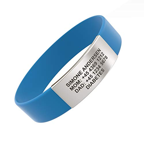 Djuva Rush personalisierte notfallarmband kinder, armband kinder telefonnummer, armband kinder mädchen, sos armband kinder, gummi armband, armband mit gravur, kinder urlaub, Sport ID (XS (13cm), Blau)