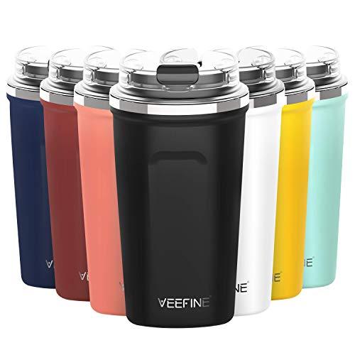 VeeFine Tumbler 12oz Dishwasher Safe BPAFree Insulated Travel Mug for Coffee Fits Car Cup Holder Black