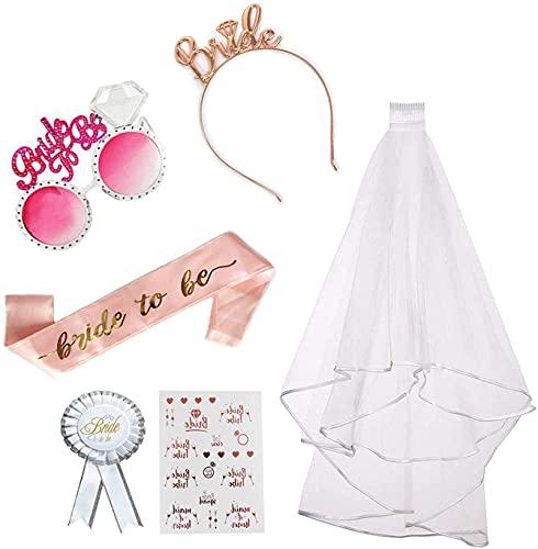 Pptabold 6 unidades de despedida de soltera para novias o novias en satén, liguero de novia, diadema y velo de novia, color rosa con peineta para fiestas nocturnas