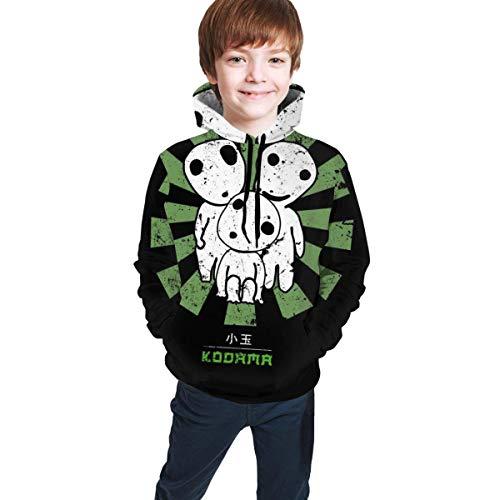 shenguang Kodama Retro Japanese 3D Print Pullover Hoodies Hooded Sweaters Sweatshirts for Kids Teens Boys Girls Black