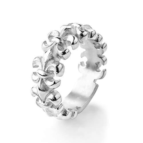 Drachenfels Bandring | Kollektion Lilienkönigin | Edler Lilien Ring in Echtsilber | Design-Schmuck aus 925 Sterling Silber