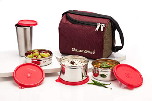 Signoraware Best Stainless Steel Innovative Lunch Box with Bag, Set of 4, Red