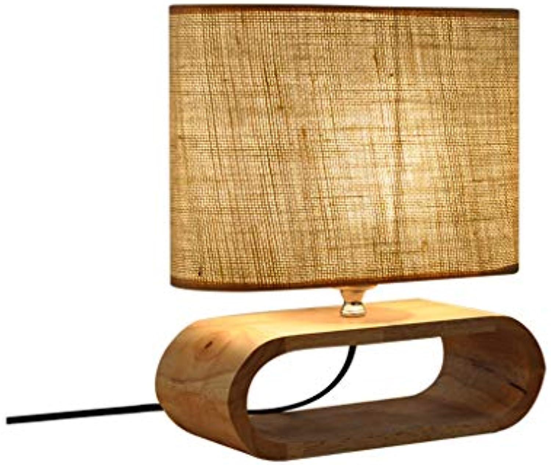 LQ Moderne minimalistische massivholz kunst tischlampe studie schreibtisch schlafzimmer nachttischlampe dekoration kreative holz stoff tischlampe
