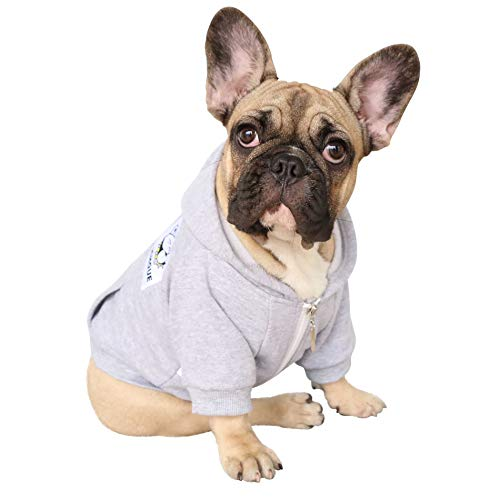 iChoue Pet Clothes Dog Hoodie Hooded Full-Zip Sweatshirt French Bulldog Pug Boston Terrier Cotton Winter Warm Coat Clothing - Grey/Size L