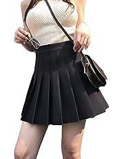 Yosemite Düz Renk Yüksek Bel Kloş Pileli A Kesim Mini Günlük Etek Kadın Elbisesi