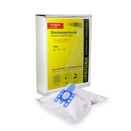 PATONA 10x Stofzuigerzak compatibel met Miele Gr. G H N Black Pearl 5000 5000-1 Premio, scheurvaste filterzak - synthetisch vlies