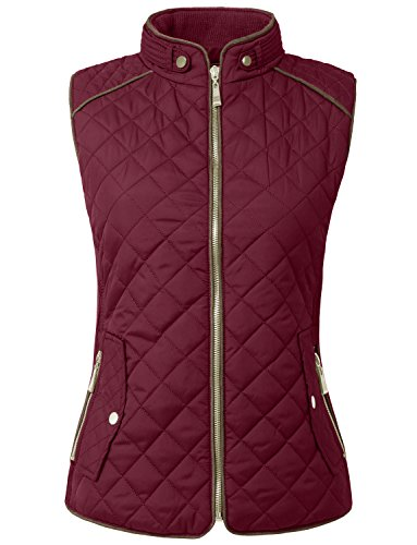 NE PEOPLE Womens Lightweight Quilted Padding Zip Up Vest Gilet(S-3XL) Burgundy
