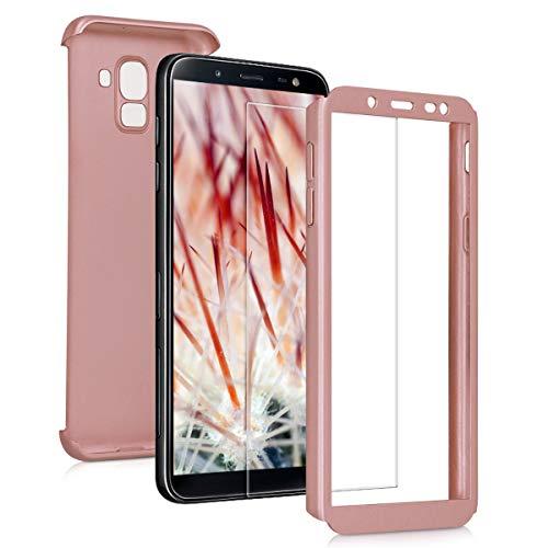 Preisvergleich Produktbild kwmobile Samsung Galaxy J6 Hülle - komplette Abdeckung - inkl. Display Schutzglas - Case für Samsung Galaxy J6 - Metallic Rosegold