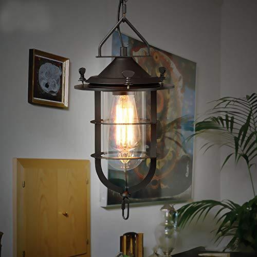 Leuchter Loft Kreative Retro Restaurant Bar Pendelleuchte Amerikanischen Landhausstil Schmiedeeisen Balkone Industrie Pendelleuchte E27 / E26 Lampe ( Farbe : AC 220V , Größe : Warmweiß )