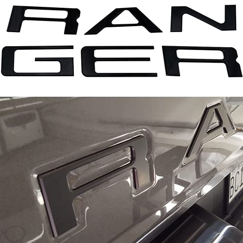 Tailgate Inserts Letters Emblem Compatible for 2019 2020 2021 Ranger Accessories Rear Inlays Decals (Gloss Black)
