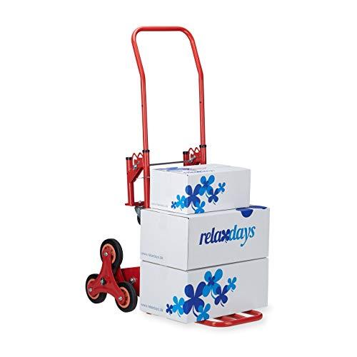 Relaxdays, Rojo, 124,5 x 52 x 77 cm Carretilla de Mano para Escaleras hasta 150 Kg, Metal