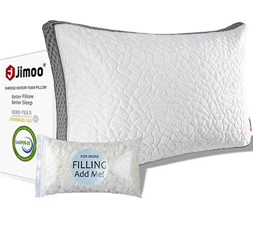 J JIMOO Bed Pillow for Sleeping, Shredded Memory Foam Pillow Adjustable Loft Washable Hotel Pillow with Cooling Bamboo Derived Rayon Cover for Side and Back Sleeper, Queen
