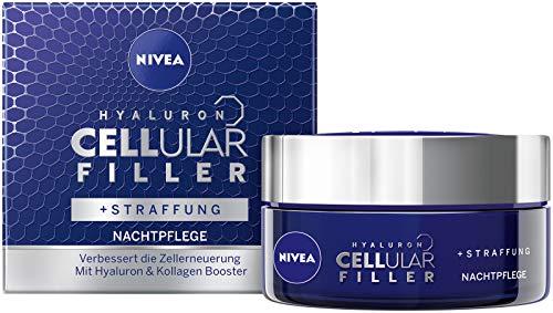 NIVEA Hyaluron CELLular Filler Anti-Age Nachtpflege Creme (1 x 50 ml), Anti Falten Gesichtscreme für die Nacht, wirksame und intensive Nachtcreme
