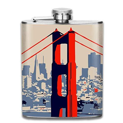 Rundafuwu Frasco para Licor, Golden Gate Bridge Vector Art Stainless Steel 7oz Hip Flask