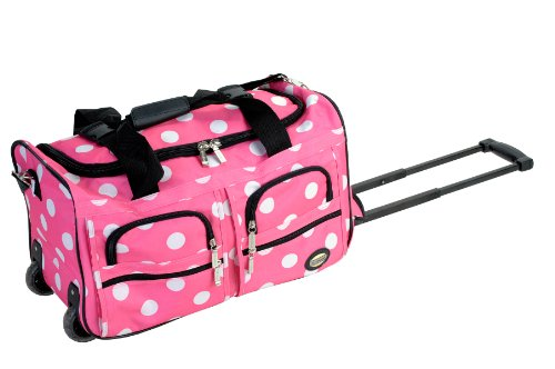 Rockland Rolling Duffel Bag, Pink, 22-Inch