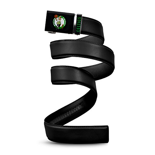 Mission Belt NBA Boston Celtics, Black Leather Ratchet Belt, Small (Up to 32')