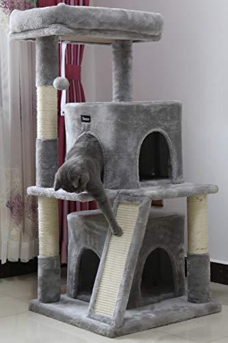 Toozey Kratzbaum 106 cm - Stabiler Katzenbaum - für Kleine bis Große Katzen - 106 x 48 x 48 cm, Grau