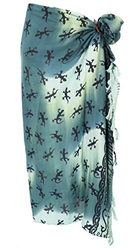 GURU SHOP Bali Sarong, Wandbehang, Wickelrock, Sarongkleid, Herren/Damen, Celtic Gecko Grün/Batik, Synthetisch, Size:One Size, 160x100 cm, Sarongs, Strandtücher Alternative Bekleidung