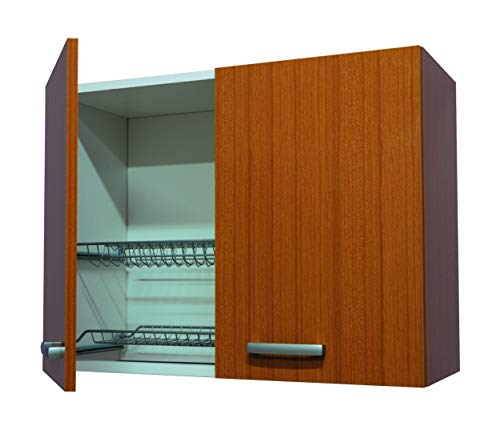 Mobile scolapiatti pensile teak 80cm per cucina, 2 ante H.60,