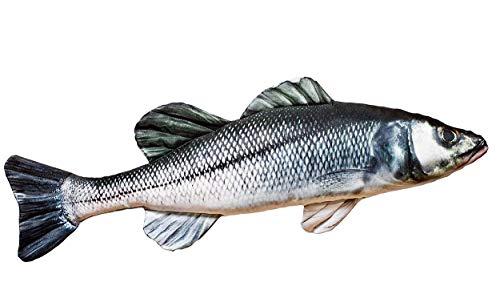 GABY Fish Pillows Europäischer Seebarsch Almohada, poliéster, Multicolor, Medium