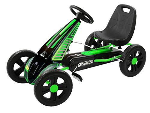 Hauck Hurricane Pedal Go Kart with Durable Steel Tube Frame, Sporty 3 Point Steering & Adjustable Seat