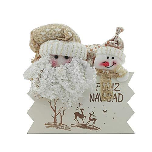 ANANDAYA Colgante Adorno para Puerta Feliz Navidad de Madera con Bonitos Muñecos navideños y Elegante decoración...