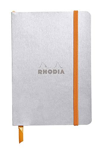 Rhodia 117351C - carnet souple Rhodiarama 144 pages ivoire 10,5x14,8 cm 90g DOT (petits points), fermeture élastique, pochette à soufflet, couverture simili cuir Argent