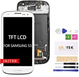 for Samsung Galaxy S3 LCD Replacement I9300 I9301 I535 Touch Screen Digitizer TFT Display Touchscreen Glass with Frame Assembly Kits,(NOT AMOLED) NOT Include Tempered Glass(White)