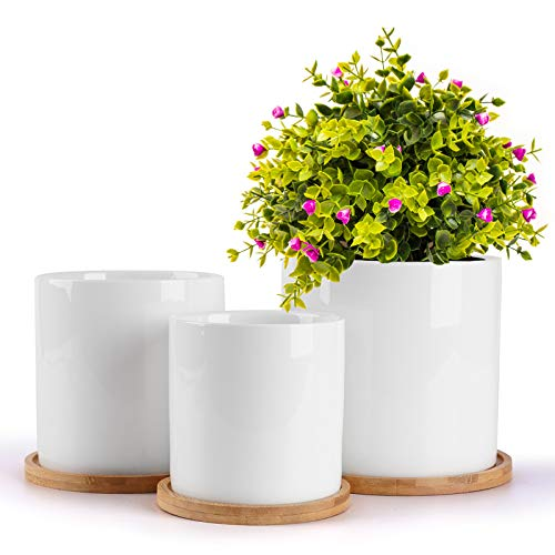 HOMENOTE 5.5/4.8/4 Inch Ceramic Planter Pot, Modern Decorative White Indoor Planters with Drainage Hole Bamboo Trays for All House Plants, Flowers, and Succulent