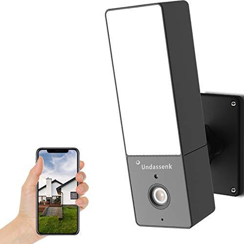 Undassenk Outdoor Security Camera, 1080P WiFi Floodlight Camera, Security Floodlight Camera with 2.4G WiFi, 2-Way Audio, IP65 Weatherproof, Night Vision, Motion Detection