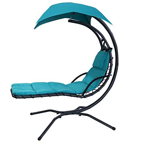 Outsunny Bain de Soleil transat Suspendu avec Pare-Soleil et Matelas Design Contemporain 1,92L x 1,13l x 2H m Acier Polyester Turquoise Noir
