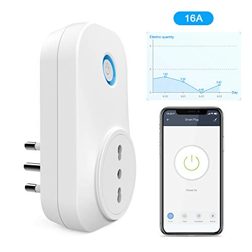 Presa Intelligente WiFi, Maxcio Presa Smart Italiana 16A Compatibile con Amazon Alexa/Google Home, Controllo Vocale, App Telecomando Remoto, Energia Monitor, Funzione di Timer e Family Share