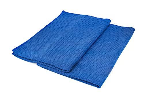 (2er Pack) die Rag Company 16in. x 24in. waffle-weave 370GSM Mikrofaser Details, Fenster/Glas und Trocknen Handtücher–fusselfrei, streifenfreien
