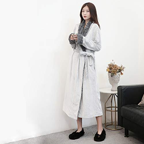 YHSW Pijamas para Damas,cómodos y Ajustados,vellón cálido,Franela Albornoces para Parejas de Damas/Hombres (S-XXXL)