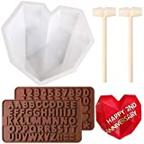 7.8 inch Diamond Heart Chocolate Cake Mold with 2pcs Letter Number Chocolate Molds and 2pcs Wooden...