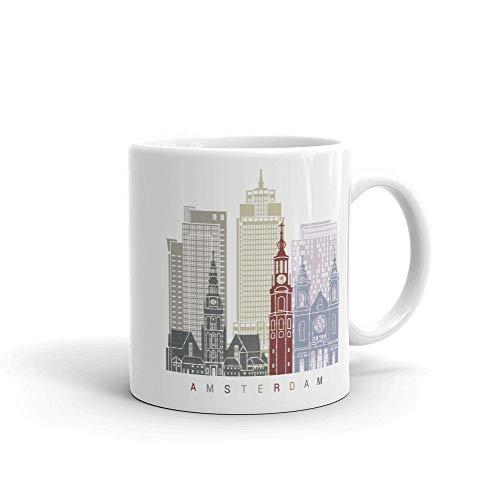 Taza de café de Amsterdam Países Bajos, idea de regalos para el hogar, taza de té, regalos de día de Acción de Gracias, regalo de Navidad, 11 onzas
