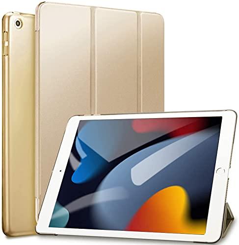 Sripns Hülle für iPad 9./8./7. Generation,Ultra Dünn Leicht Ständer Schale Smart Cover mit Transluzent Rücken Deckel & Auto Schlaf/Wach Funktion für iPad 10.2 Zoll 2021/2020/2019- Gold
