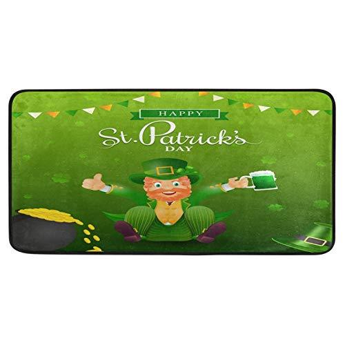 Feliz día de San Patricio, alfombras de cocina, macetas, cerveza, duende irlandés, alfombra de baño, alfombra cómoda, antideslizante, para baño interior, 99 x 50 cm