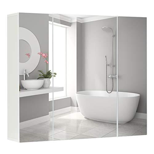 DICTAC Spiegelschrank 70x60x15cm Badschrank Spiegel weiß moderner minimalistisch Badezimmerspiegel 3 Türen 2 Schichten höhenverstellbarer Lagerschrank große Kapazität Einfachheit Badezimmermöbel