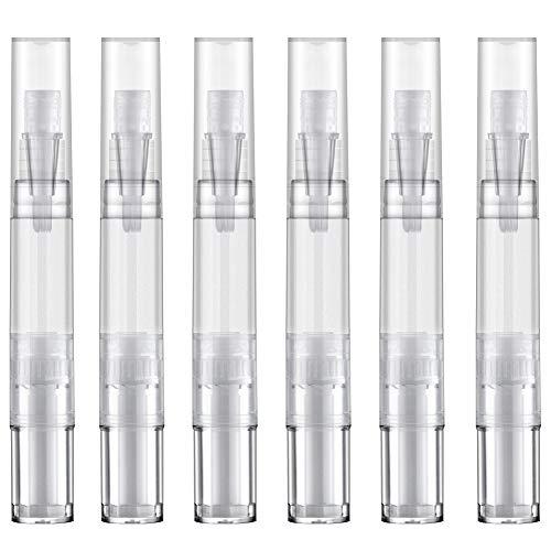 Toureal 5ml Leerer Nagelöl Stift (6 Stück) Flasche mit Bürste, Leere Lipgloss Behälter für Nagelhaut Oel Applikator, Nagelöl Pflege (Transparent)