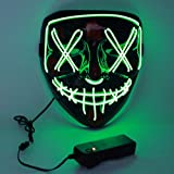 Charlemain Masque Halloween LED, Masque Lumineux avec 3 Modes de Flash,Jouets Lumineux Convient pour...