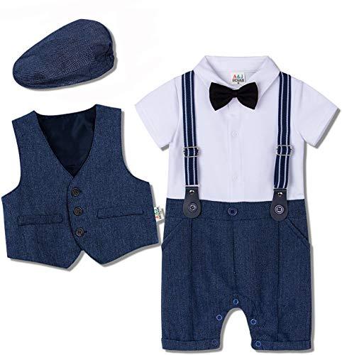 mintgreen Baby Gentleman Romper 3tlg Anzüge Set mit Mütze, Königsblau, 9-12 Months (Herstellergröße : 80)
